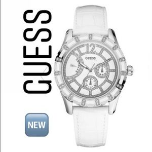 Guess White Leather Ladies Watch U12577L1
